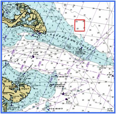 Windmill point reef chart for Virginia saltwater fishing license